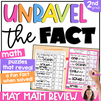 2nd grade Math Review   End of Year Math Puzzles   Cut and Paste Option