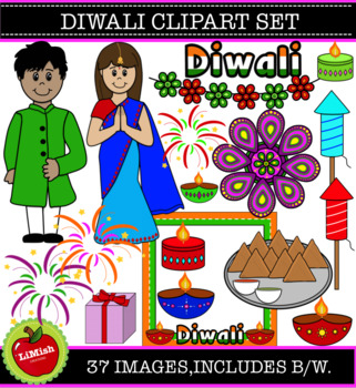 37 Piece Diwali Clip Art Set. (For commercial or personal use)