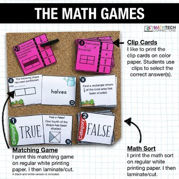3rd - Partitioning Shapes Math Centers - Math Games