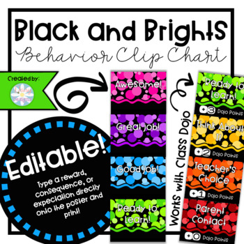 Black and Brights EDITABLE Behavior Clip Chart with Class Dojo
