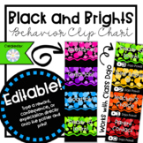 Black and Brights EDITABLE Behavior Clip Chart with Class Dojo