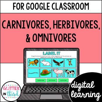 Carnivore, Herbivore, & Omnivore consumers for Google Classroom DIGITAL
