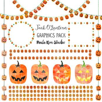 Jack O'Lantern Clip Art Watercolor Graphics Pack