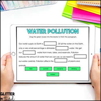 Water pollution & conservation for Google Classroom DIGITAL