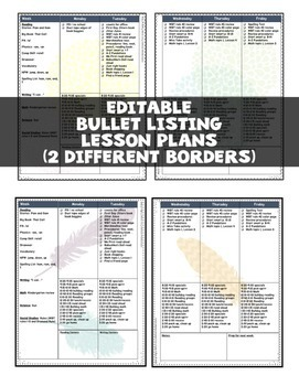Editable Teacher Binder 2019-2020 Bullet Lesson Planning FLORA Bundle