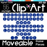 Digital Apps Game Pieces Circle Letters BLUE Clipart