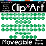 Digital Apps Game Pieces Circle Letters GREEN Clipart