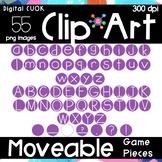 Digital Apps Game Pieces Circle Letters Purple Clipart