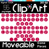 Digital Apps Game Pieces Circle Letters RED Clipart