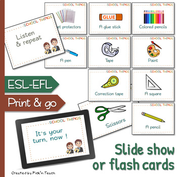 SCHOOL SUPPLIES – Vocabulary & guessing game
