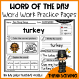 50% OFF 48 HRS Thanksgiving Word of The Day–Vocabulary Word Work