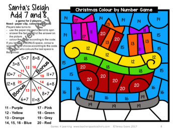 Christmas Colour by Number Maths Games AU UK NZ CAN Edition