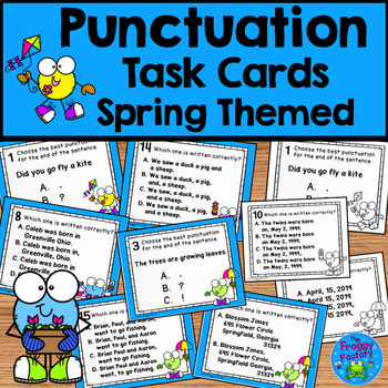 Punctuation Practice Task Cards - Spring Activity