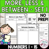 More or Less Worksheets Set 1   More Than Less Than & Between
