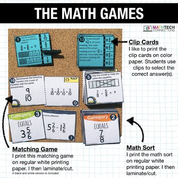 4th - Add & Subtract Fractions Math Centers - Math Games