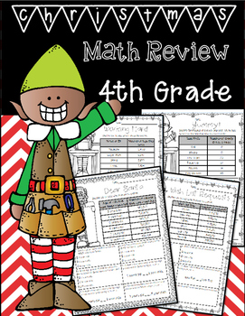 4th Grade Math Review Reading a Table Winter/Christmas Themed