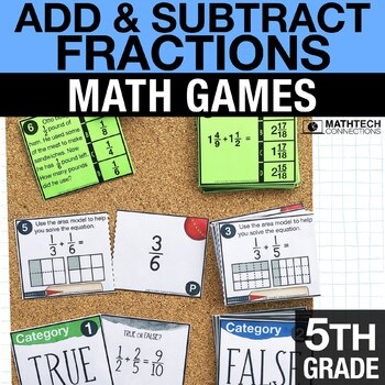 5th - Add & Subtract Fractions Math Centers - Math Games