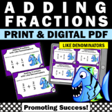 Adding Fractions with LIKE Denominators, 4th Grade Fraction Task Cards SCOOT