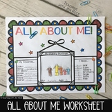 All About Me Back to School or Student of The Week Fun Sheet