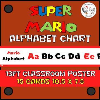 Mario Alphabet Line Classroom Poster - Mario Theme Decor