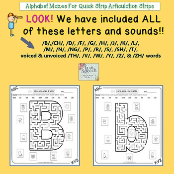 Speech/Literacy: Alphabet Mazes With Quick Strip Articulation Strips - 24 Sounds