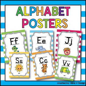 50% OFF Alphabet Poster Print and Cursive, Alphabet Posters Cursive
