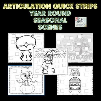 Invaluable Articulation & Apraxia Quick Strips Database With Seasonal Scenes