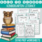 Back To School Activities For Kindergarten Literacy