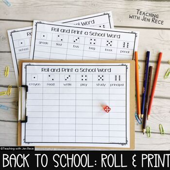Back to School Literacy Game - Roll a Word/Roll It and Write It!