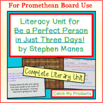 Be A Perfect Person in Just Three Days Novel Study for PROMETHEAN BOARD