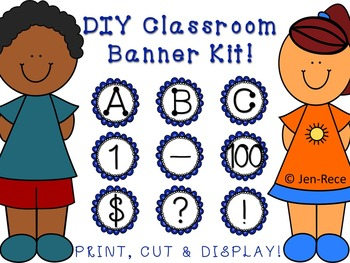 Blue Scalloped Banner Kit - Letters, Numbers and Symbols