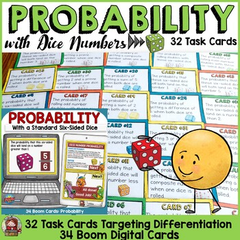 CHANCE AND PROBABILITY: PROBABILITY WITH DICE NUMBERS: 32 TASK CARDS