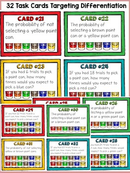 CHANCE AND PROBABILITY: PROBABILITY WITH PAINT COLORS: 32 TASK CARDS