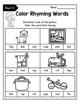 CVC Rhyming Worksheets for Kindergarten, Rhyming Words ...