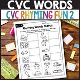 CVC Rhyming Worksheets for Kindergarten,  Rhyming Words Wo