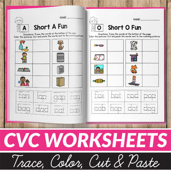 50% OFF CVC Word Worksheets - Cut and Paste Worksheets