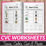 CVC Word Worksheets - Cut and Paste Worksheets