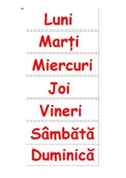 Calendar zilnic -DAILY CHART (Romanian)