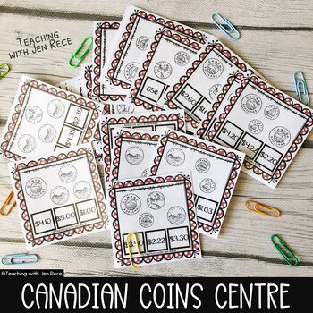 Money -  Canadian Coins Clip Cards for math centres