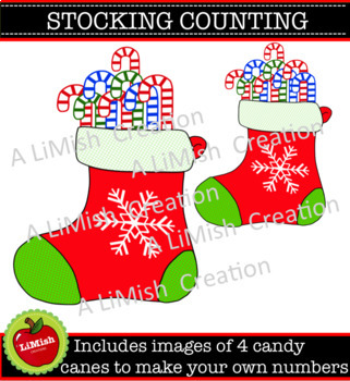 Christmas Stocking Counting Clip Art (commercial or personal use)