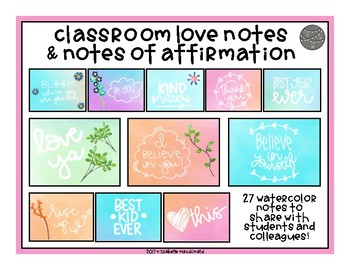 Classroom Community Love Notes & Notes of Affirmation