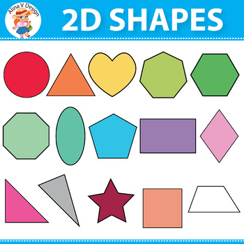 Colorful 2D Shapes, Dotted 2D Shapes 27 colors x 15 shapes 420 Graphics