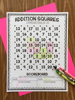 Combination of 20 - Addition Squares Math Game
