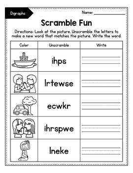 Consonant Digraphs Sort , Digraphs Worksheets - Scramble Fun