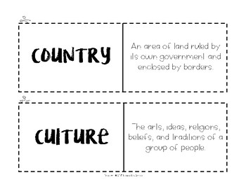 Country Vocabulary Flash Cards, Activities, and Assessment