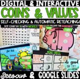 DIGITAL Coins - Self-Checking & Reteaching! Google Slides