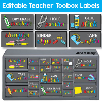 Editable Teacher Toolkit Label Black 22 Drawer