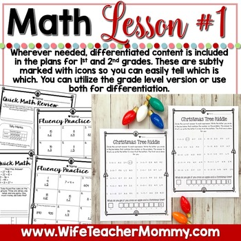 December Sub Plans 1st 2nd Grade Math & ELA Mini Bundle. Christmas Activities