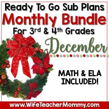 December Sub Plans 3rd 4th Grade Math & ELA Mini Bundle. Christmas Activities