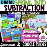 Digital Spring Subtraction - Google Slides & Seesaw